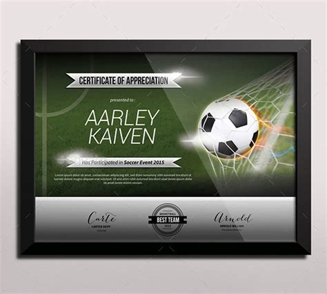 football certificate template   documents