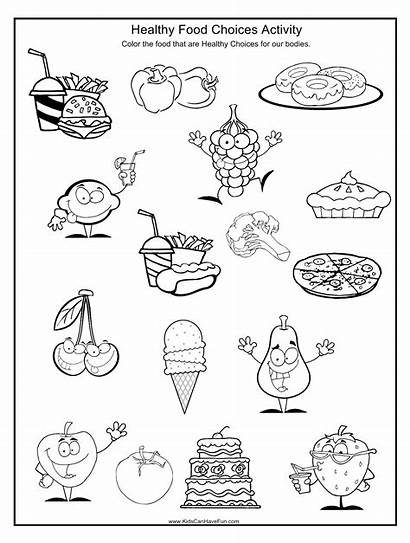 Health Healthy Worksheets Unhealthy Foods Choices Coloring