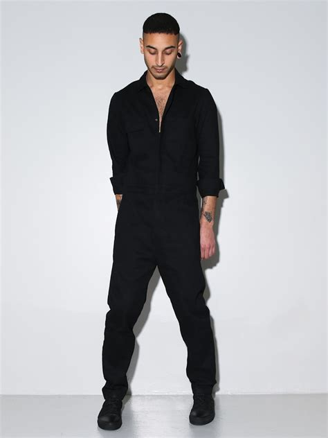 mens jumpsuit oak boiler suit black in black for lyst
