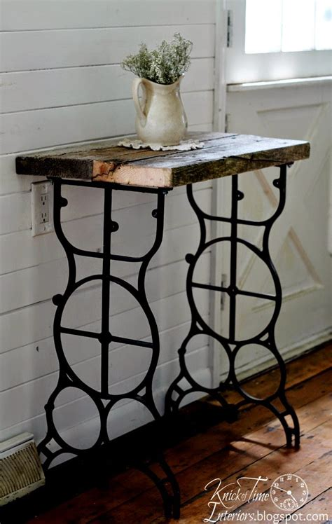 antique sewing machine table  rustic side table