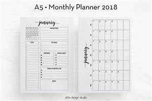month at a glance blank calendar template - 2018 monthly planner a5 planner inserts month at a glance