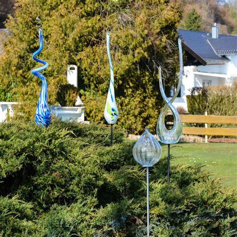 glas deko garten mundgeblasene glas fackel 115 cm mit erdspiess klar garten deko kaufen bei licht design