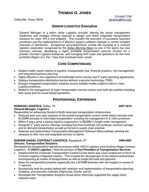 senior logistic management resume senior logistics