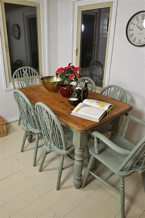 shabby chic dining table plymouth farmhouse dining set chairs and duck egg blue on pinterest