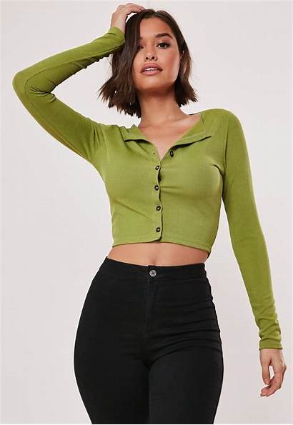 Crop Sleeve Button Missguided