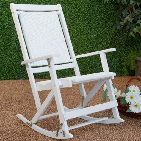 willow bay folding resin wicker rocking chair white