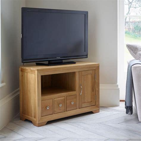Rustic Oak Corner Tv Cabinet Quercus Living Bevel Small Corner Tv Cabinet In Solid Oak Oak Furniture Land