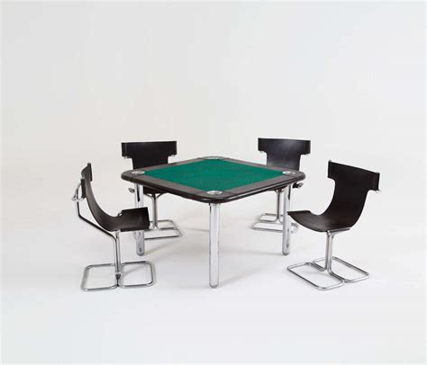 chrome and leather card table and chairs at 1stdibs