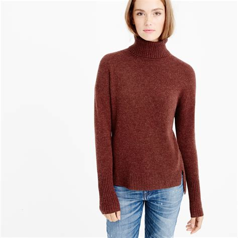 turtle sweaters j crew relaxed wool turtleneck sweater with rib trim in