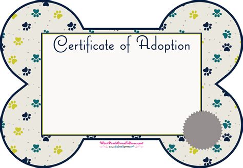 Blank Adoption Certificate Template by Pet Adoption Certificate For Free Formtemplate