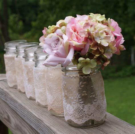 shabby chic wedding reception centerpieces set of 6 vintage jars centerpieces vases by mudpiesandmarigolds