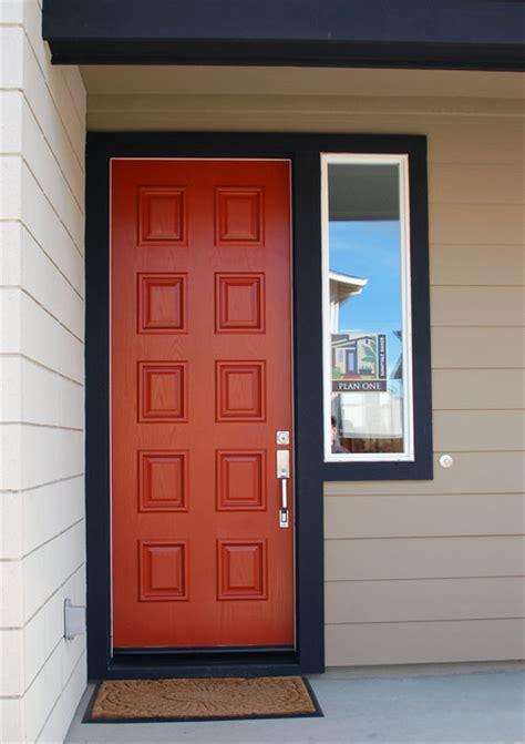 red door black trim midcentury entry