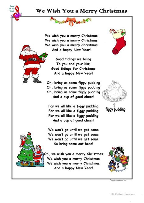 Christmas Song We Wish You A Merry Christmas Worksheet