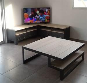 Table D Angle : meuble tv d 39 angle style industriel ref baltimore heure cr ation ~ Teatrodelosmanantiales.com Idées de Décoration