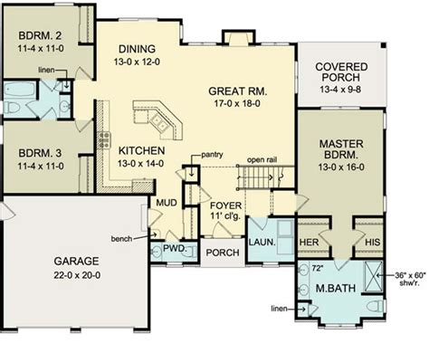 ranch floor plans with basement floor plan of ranch house plan 54066 move garage back 2 bed bath in basement like the