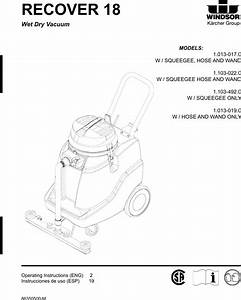 Windsor Recover 18 Wet Dry Vacuum Service Parts Manual
