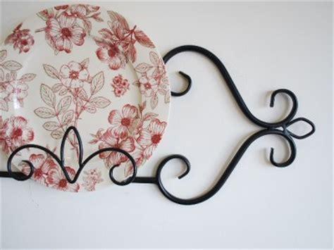 wrought iron wall plate holder rack display gloss black cm ebay