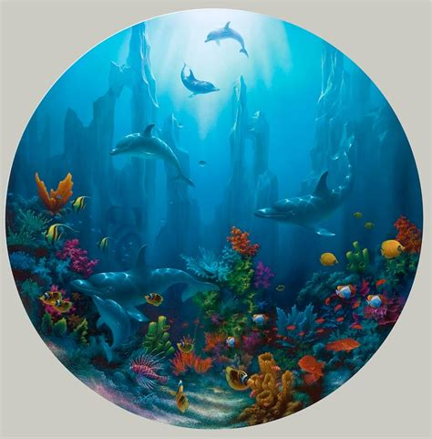 dolphin  tropical reef paintings  artist david miller