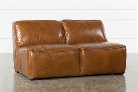 burton leather armless loveseat living spaces