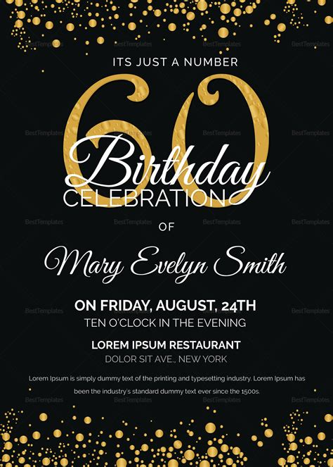 Black and Gold 60th Birthday Party Invitation Design