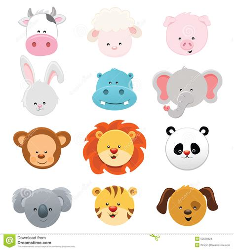 animal faces stock vector illustration of collection 52550124