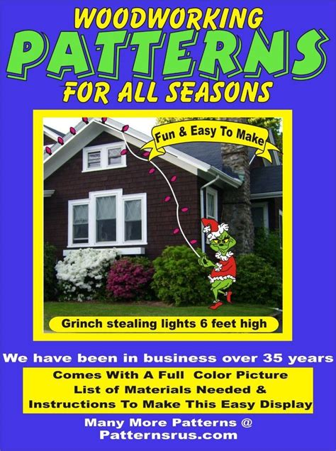 grinch stealing lights christmas yard art pattern wood