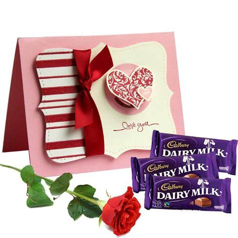 Dairy Milk Chocolate With Love You Card And Single Red