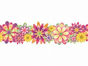 Flower clipart bottom border - Pencil and in color flower ...