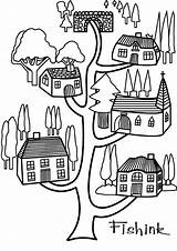 Coloring Tree Buildings Architecture Printable Drawing Kb Drawings Popular sketch template