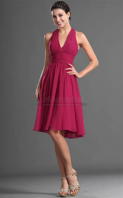 short halter chiffon fuchsia bridesmaid dress bd ca