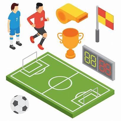 Vector Soccer Isometric Vecteezy Player Kicks Ball