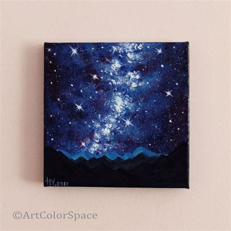 Milky Way Painting Night Sky Oil Canvas Starry