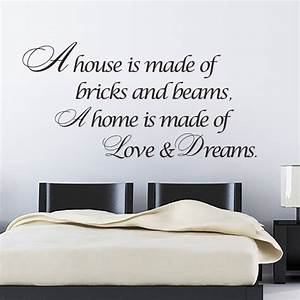 A home is made of love dreams quotes wall sticker bedroom for Top 20 wall decal quotes for bedroom