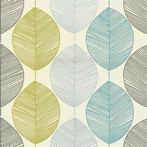 Retro Leaf Teal & Green 1970s Look Feature Wallpaper Opera ...