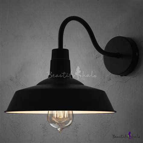black barn style shade wall light with gooseneck arm
