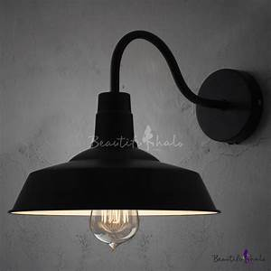 Black barn style shade wall light with gooseneck arm for Barn style lamps
