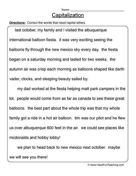 capitalization worksheets resources