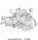 Stagecoach Horse Crowded Clipart Drawn Retro Royalty Crowds Clip Prawny Vector Wagon Fear Coach Horses Cartoon Illustrations Driver Carriage Wild sketch template