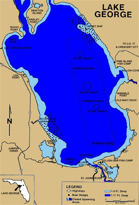 george lake florida map bombing lakes range fish fishing guide crappie information mean teach himself feed he