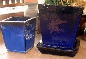 2 winterharte pflanzkubel steinzeug keramik blau With französischer balkon mit keramik katzen für garten