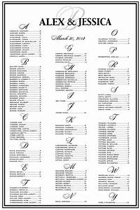 escort directory template - wedding reception seating chart template
