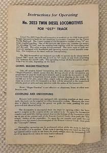 Vintage Postwar Lionel Instructions For Operating No 2023