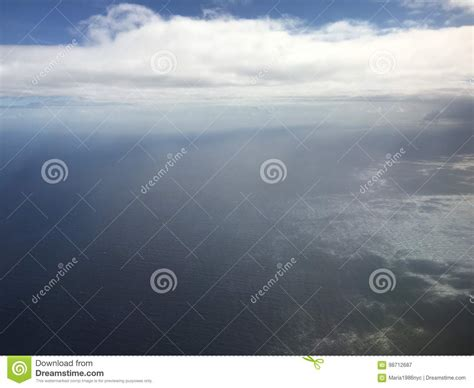 Pacific Ocean And Clouds Near Hawaiian Islands View From