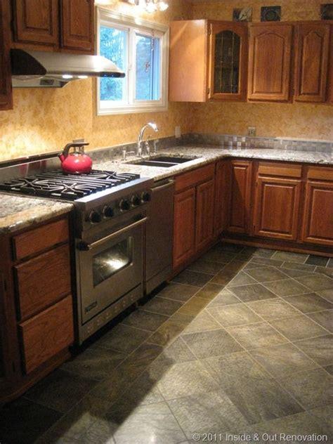 kitchen wood slate floor  gray granite countertops