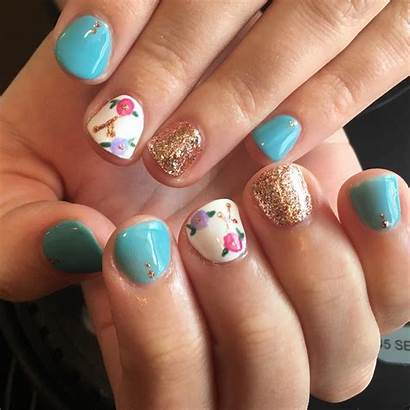 Nail Floral Nails Flower Teal Round Glitter