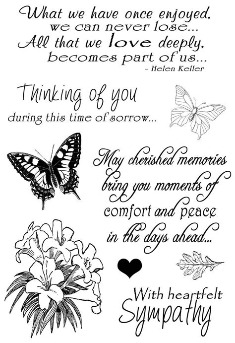 Feel free to share each quote with family and friends, on social media, or somewhere in the funeral service. Sympathy Sentiments Clear Stamp Set. Create handmade sympathy cards with this stamp … | Sympathy ...