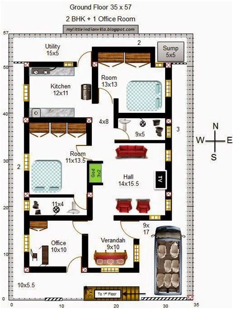 south facing house plans vastu plan  south facing plot