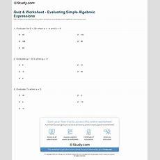 Quiz & Worksheet  Evaluating Simple Algebraic Expressions Studycom
