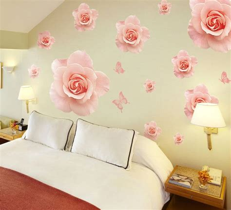 32932 wall decals for bedroom colorful pink background wallpaper for walls vinyl