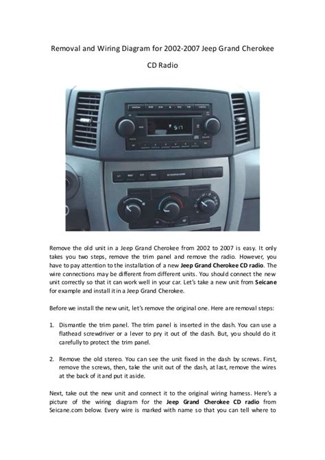 removal  wiring diagram    jeep grand